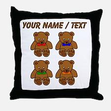 Custom Teddy Bear Bowtie Pop Art Throw Pillow