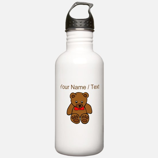 Custom Teddy Bear Red Bowtie Water Bottle
