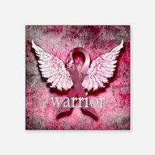 "Pink Ribbon Warrior By Vetr Square Sticker 3"" x 3"""