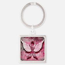 Pink Ribbon Warrior By Vetro Desig Square Keychain
