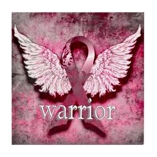 Pink Ribbon Warrior By Vetro Designs Tile Coaster