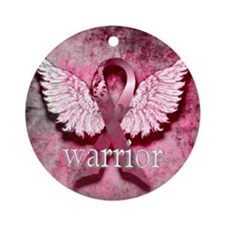 Pink Ribbon Warrior By Vetro Design Round Ornament