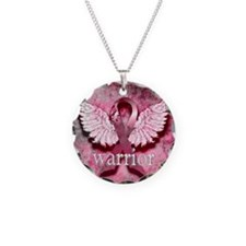 Pink Ribbon Warrior By Vetro Necklace Circle Charm