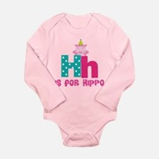 Custom Alphabet Letter H Long Sleeve Infant Bodysu