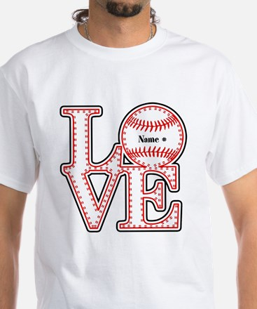 Personalized Front and Back Love Baseball White T-