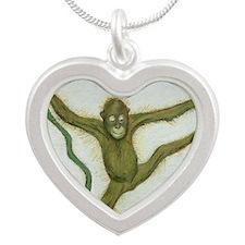 baby orang utang Silver Heart Necklace