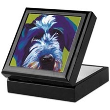 Blue and Lime Wire Haired Griffon  Keepsake Box