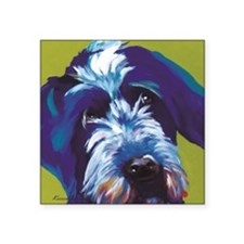 "Blue and Lime Wire Haired G Square Sticker 3"" x 3"""