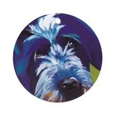 Blue and Lime Wire Haired Griffon  Round Ornament