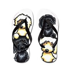 Black Yellow Labradoodles Dog Pile Flip Flops