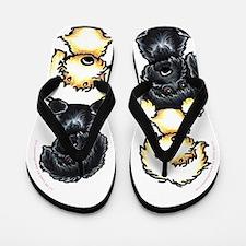 Black Yellow Labradoodles Dog Pile Flip Flops