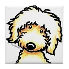 Yellow Labradoodle Face Tile Coaster