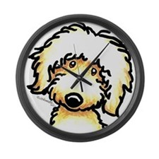 Yellow Labradoodle Face Large Wall Clock