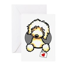 Yellow Labradoodle Heart Greeting Cards (Pk of 10)
