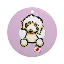 Yw Labradoodle Heart Lilac Ornament (Round)
