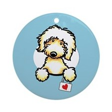 Yw Labradoodle Heart Blue Ornament (Round)