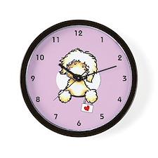 Yw Labradoodle Heart Lilac Wall Clock