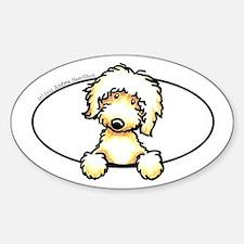 Peeking Golden Doodle Sticker (Oval)