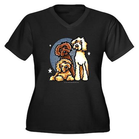 3 Labradoodle Dog Night Women's Plus Size V-Neck D