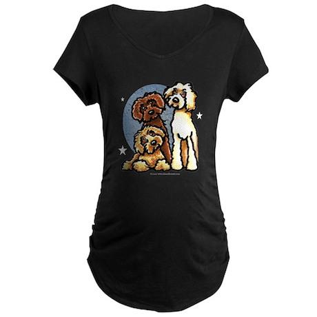 3 Labradoodle Dog Night Maternity Dark T-Shirt