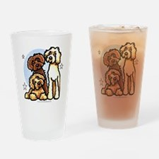 3 Labradoodle Dog Night Drinking Glass