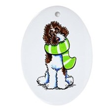 Labradoodle Scarf Ornament (Oval)