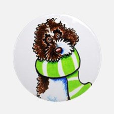 Labradoodle Scarf Ornament (Round)