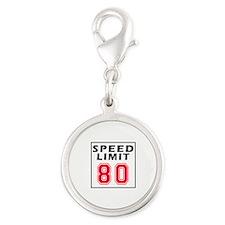 Speed Limit 80 Silver Round Charm