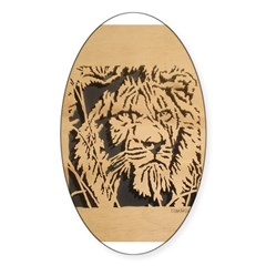 Wood Lion Oval Decal