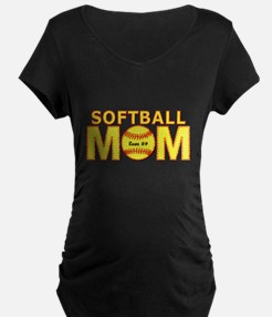 Personalized Softball Mom Maternity T-Shirt
