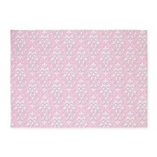 Carnation & White Damask #36 5'x7'Area Rug