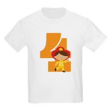 4th Birthday Fireman Boy T-Shirt