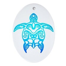 Ocean Blue Tribal Turtle Ornament (Oval)