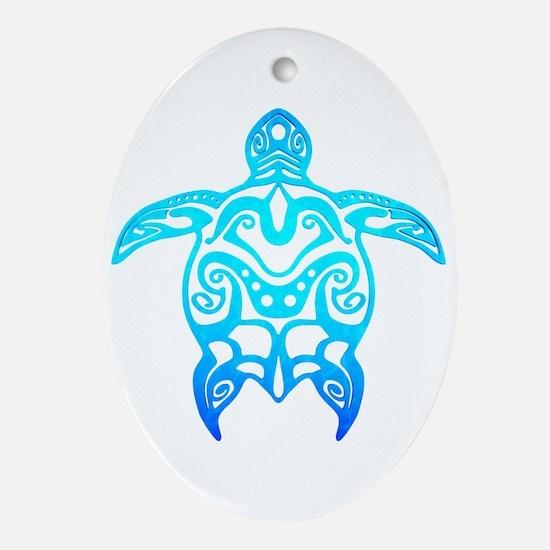 Ocean Blue Tribal Turtle Ornament (Oval)