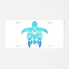 Ocean Blue Tribal Turtle Aluminum License Plate