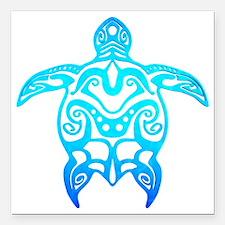 "Ocean Blue Tribal Turtle Square Car Magnet 3"" x 3"""