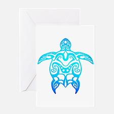 Ocean Blue Tribal Turtle Greeting Cards
