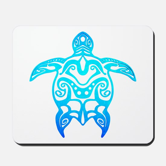 Ocean Blue Tribal Turtle Mousepad