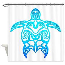 Ocean Blue Tribal Turtle Shower Curtain