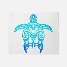 Ocean Blue Tribal Turtle Throw Blanket