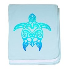 Ocean Blue Tribal Turtle baby blanket