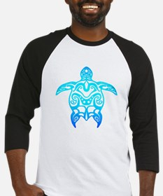 Ocean Blue Tribal Turtle Baseball Jersey