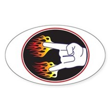 Heavy Metal Hand Oval Decal