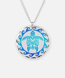 Blue Tribal Turtle Sun Necklace