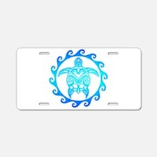 Blue Tribal Turtle Sun Aluminum License Plate