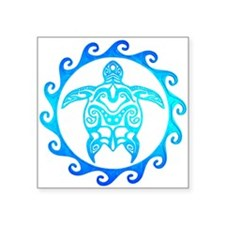 Blue Tribal Turtle Sun Sticker