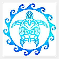 "Blue Tribal Turtle Sun Square Car Magnet 3"" x 3"""