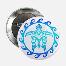 "Blue Tribal Turtle Sun 2.25"" Button (10 pack)"