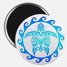Blue Tribal Turtle Sun Magnets