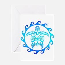 Blue Tribal Turtle Sun Greeting Cards